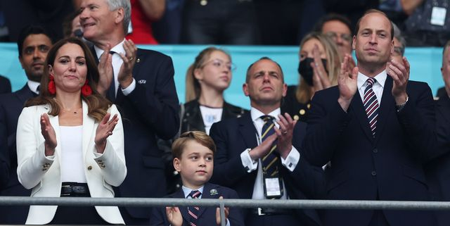 london, england   july 11 catherine, duchess of cambridge, prince george of cambridge and prince william, duke of cambridge and president of the football association applaud during the uefa euro 2020 championship final between italy and england at wembley stadium on july 11, 2021 in london, england photo by eddie keogh   the fathe fa via getty images