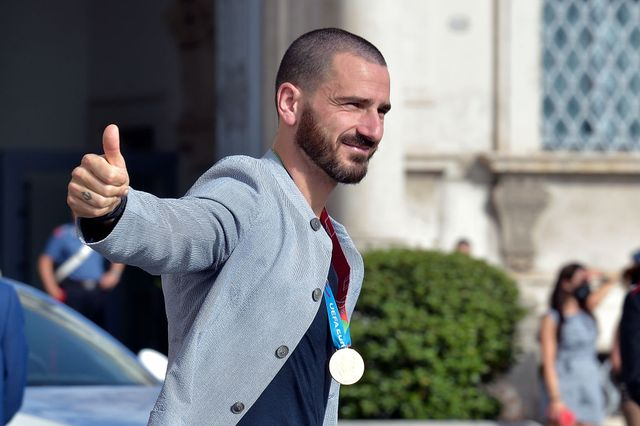 the italian footballer leonardo bonucci of italys national football team leave after attending a ceremony at the quirinale presidential palace in rome italy, july 12th 2021 photo by rocco spazianiarchivio spazianimondadori portfolio via getty images