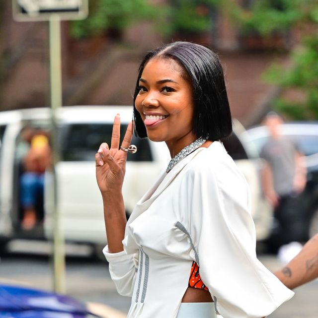 new york, new york   july 21 gabrielle union seen on the set of the perfect find in harlem on july 21, 2021 in new york city  photo by james devaneygc images