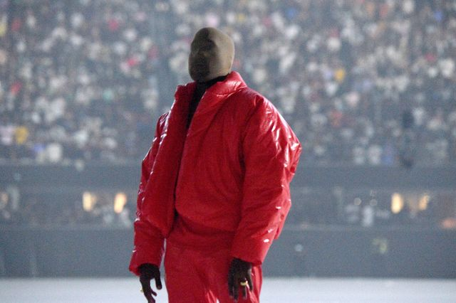 atlanta, georgia   july 22 kanye west is seen at 'donda by kanye west' listening event at mercedes benz stadium on july 22, 2021 in atlanta, georgia photo by kevin mazurgetty images for universal music group