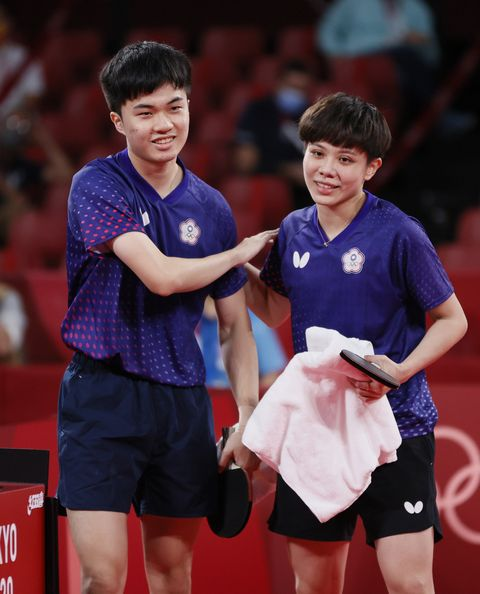 tokyo, japan   july 26 lin yun ju l and cheng i ching r of team chinese taipei after winning their mixed doubles bronze medal match on day three of the tokyo 2020 olympic games at tokyo metropolitan gymnasium on july 26, 2021 in tokyo, japan photo by steph chambersgetty images