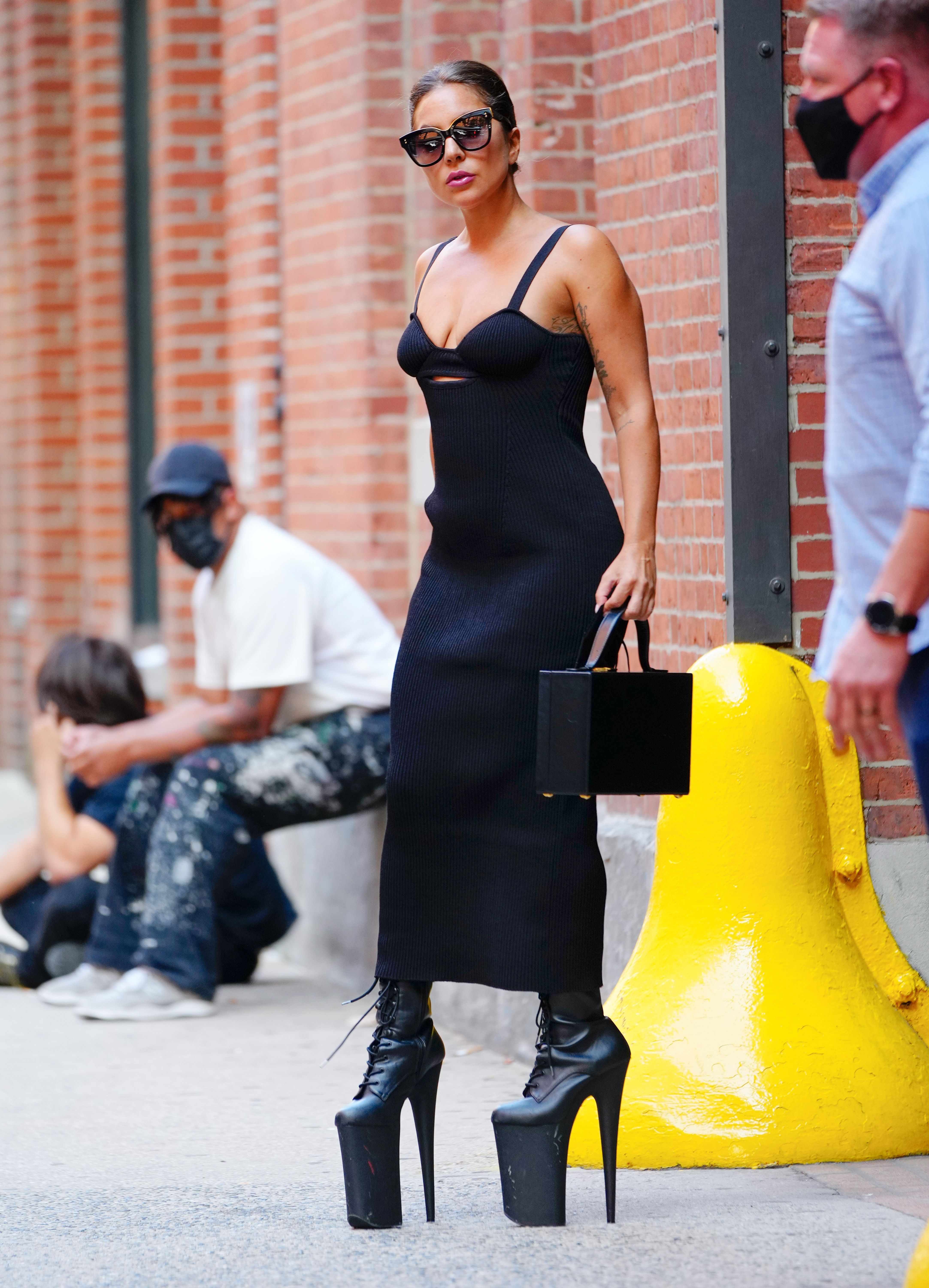 Lady Gaga Went Out in a Black Bustier Dress and Wild 9-Inch Platform Heels