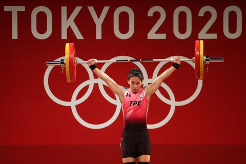 tokyo, japan   july 27 hsing chun kuo of team chinese taipei competes during the weightlifting   womens 59kg group a on day four of the tokyo 2020 olympic games at tokyo international forum on july 27, 2021 in tokyo, japan photo by chris graythengetty images
