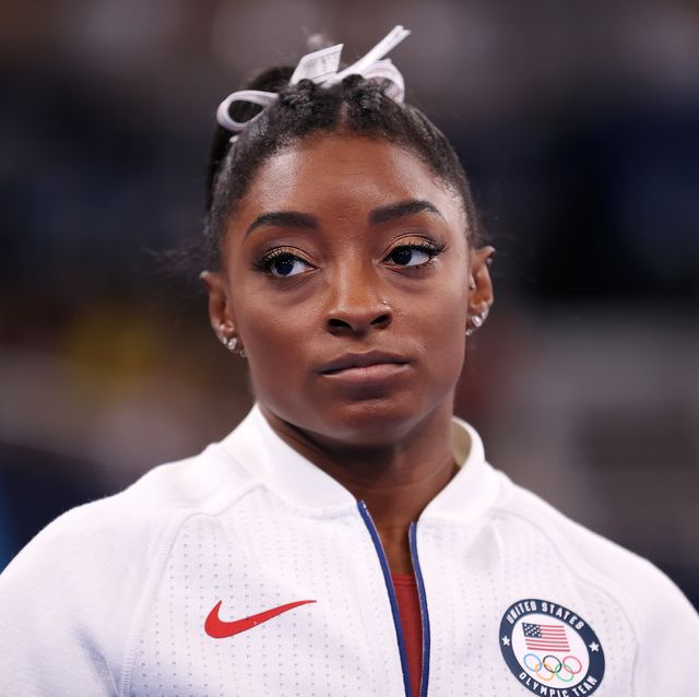 tokyo, japan   july 27 simone biles of team united states looks on during the womens team final on day four of the tokyo 2020 olympic games at ariake gymnastics centre on july 27, 2021 in tokyo, japan photo by laurence griffithsgetty images