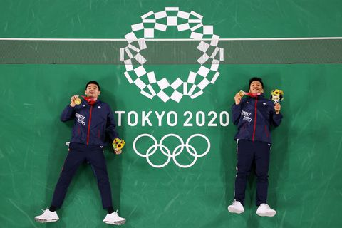 chofu, japan   july 31 gold medalists of mens doubles badminton event lee yangright and wang chi lin of team chinese taipei pose for photo on day eight of the tokyo 2020 olympic games at musashino forest sport plaza on july 31, 2021 in chofu, tokyo, japan photo by rob carrgetty images