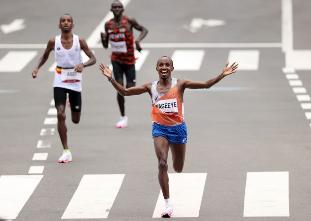 sapporo, japan   august 08 silver medalist abdi nageeye of team netherlands reacts during the men's marathon final on day sixteen of the tokyo 2020 olympic games at sapporo odori park on august 08, 2021 in sapporo, japan photo by clive brunskillgetty images