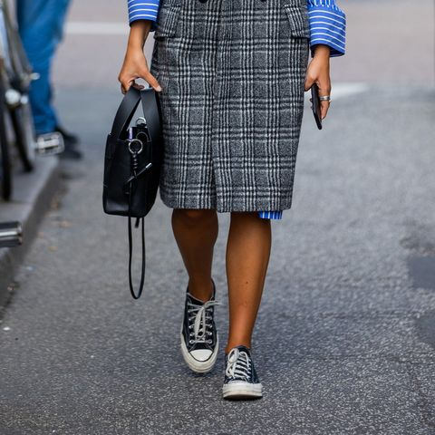 copenhagen, denmark   august 11 a guest is seen wearing checkered grey sleeveless coat outside by malene birger on august 11, 2021 in copenhagen, denmark photo by christian vieriggetty images