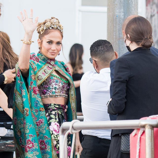 venice, italy   august 29  jennifer lopez is seen during the dolcegabbana alta moda show on august 29, 2021 in venice, italy photo by jacopo raulegetty images