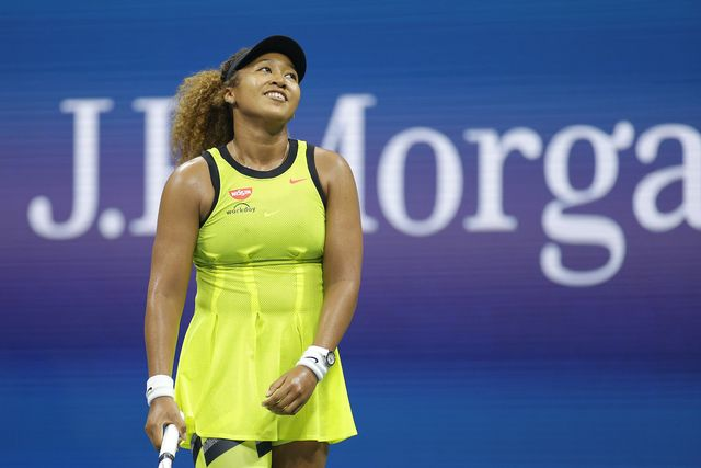 new york, new york   august 30  naomi osaka of japan reacts against marie bouzkova of czech republic during their women's singles first round match on day one of the 2021 us open at the billie jean king national tennis center on august 30, 2021 in the flushing neighborhood of the queens borough of new york city photo by sarah stiergetty images
