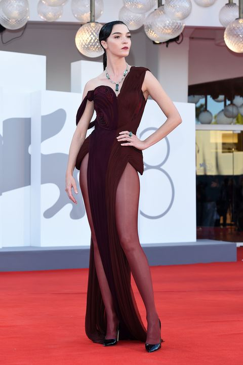 """venice, italy   september 01  maria carla boscono attends the red carpet of the movie """"madres paralelas"""" during the 78th venice international film festival on september 01, 2021 in venice, italy photo by stefania d'alessandrogetty images"""