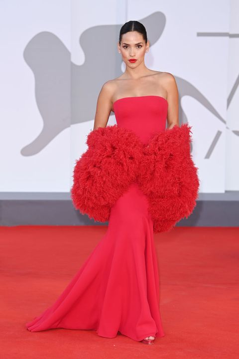 """venice, italy   september 04 adria arjona attends the red carpet of the movie """"competencia oficial"""" during the 78th venice international film festival on september 04, 2021 in venice, italy photo by daniele venturelliwireimage"""