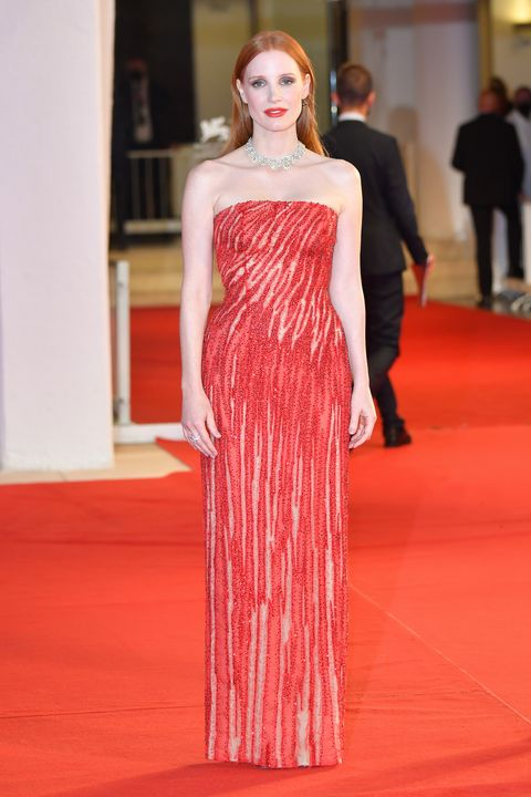 """venice, italy   september 04 jessica chastain attends the red carpet of the movie """"scenes from a marriage ep 1 and 2"""" during the 78th venice international film festival on september 04, 2021 in venice, italy photo by stephane cardinale   corbiscorbis via getty images"""