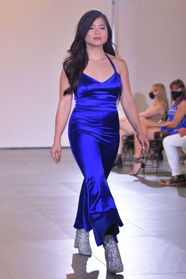new york, new york   september 10 kelly marie tran walks the runway for rises survivor fashion show during nyfw the shows at museum of modern art on september 10, 2021 in new york city photo by roy rochlingetty images