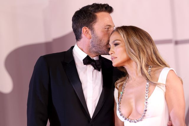 venice, italy   september 10 jennifer lopez and us actor ben affleck attend the red carpet of the movie the last duel during the 78th venice international film festival on september 10, 2021 in venice, italy photo by franco origliagetty images