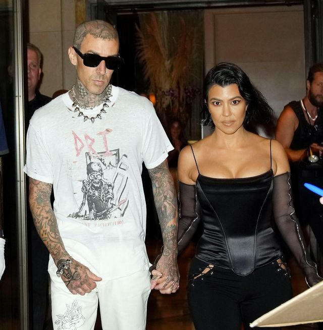 new york, new york   september 11 travis barker and kourtney kardashian out and about on september 11, 2021 in new york city photo by gothamgc images