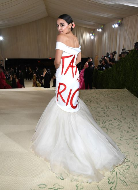 new york, new york   september 13 alexandria ocasio cortez attends the 2021 met gala celebrating in america a lexicon of fashion at metropolitan museum of art on september 13, 2021 in new york city photo by kevin mazurmg21getty images for the met museumvogue