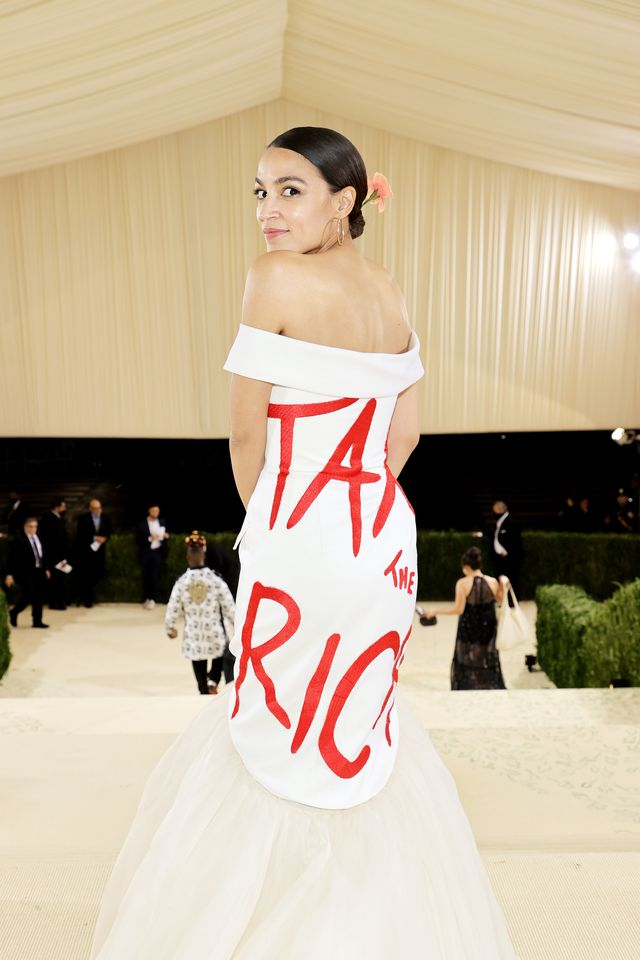 new york, new york   september 13 exclusive coverage alexandria ocasio cortez departs the 2021 met gala celebrating in america a lexicon of fashion at metropolitan museum of art on september 13, 2021 in new york city  photo by jamie mccarthymg21getty images for the met museumvogue