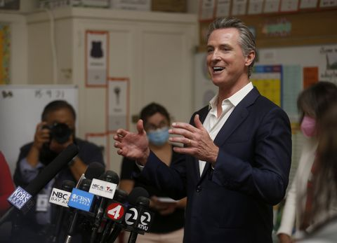 oakland, california   september 15 gov gavin newsom speaks to the press while visiting melrose leadership academy in oakland, calif, on wednesday, sept 15, 2021 on tuesday, newsom prevailed in the california gubernatorial recall election to keep his post as governor jane tyskadigital first mediaeast bay times via getty images