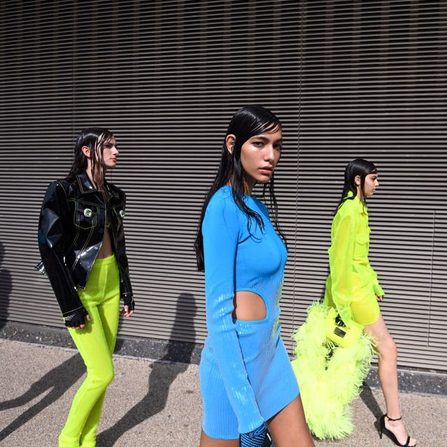 london, england   september 17 models backstage ahead of the david koma show during london fashion week september 2021 on september 17, 2021 in london, england photo by kate greenbfcgetty images
