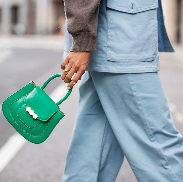 london, england   september 17 mija knezevic is seen wearing denim jeans and vest, green bag baum und pferd during london fashion week september 2021 on september 17, 2021 in london, england photo by christian vieriggetty images
