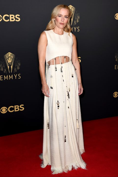 london, england   september 19 gillian anderson attends the the crown 73rd primetime emmys celebration at soho house on september 19, 2021 in london, england photo by gareth cattermolegetty images
