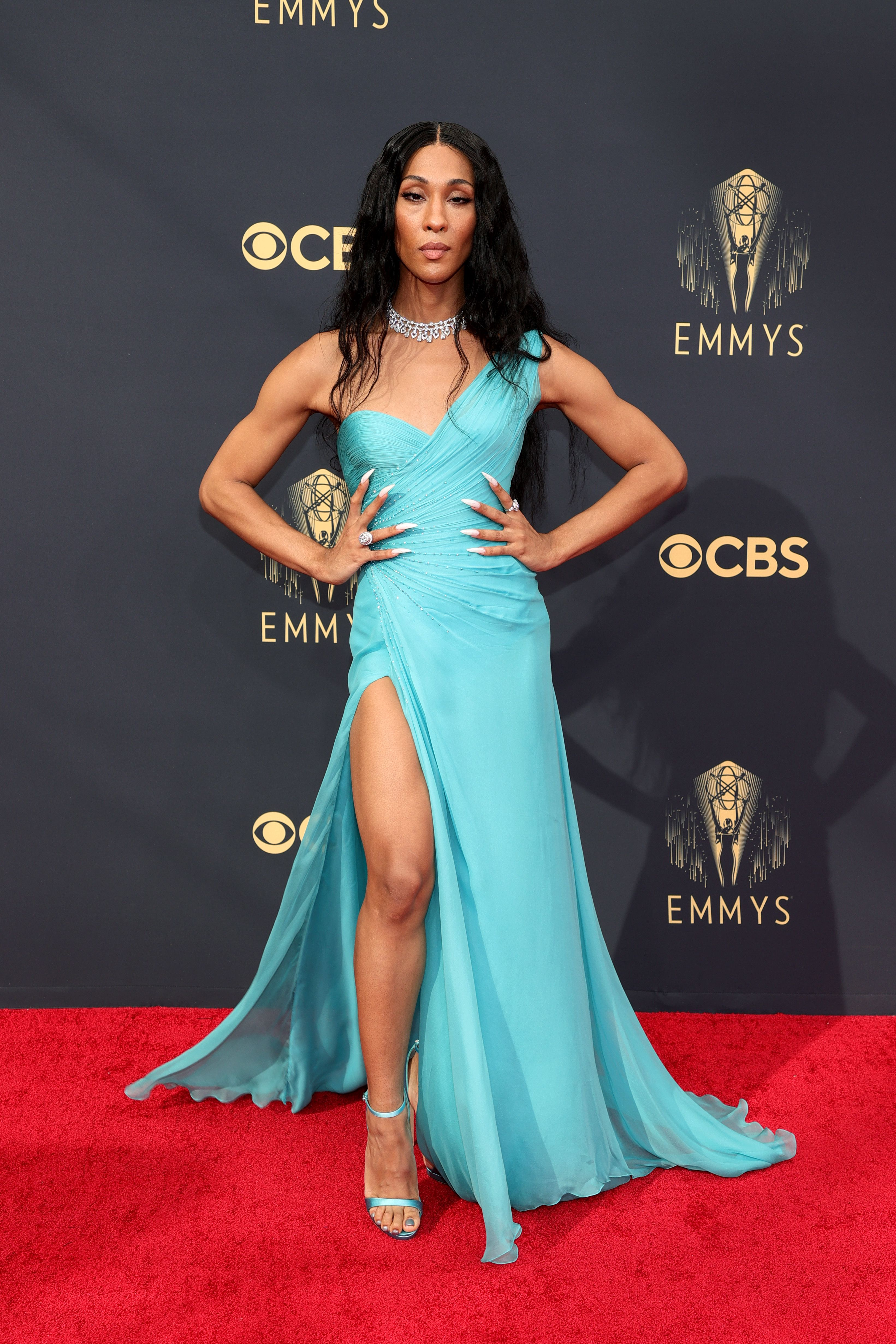 Mj Rodriguez Struck a Pose in a Custom Atelier Versace Gown at the Emmy's