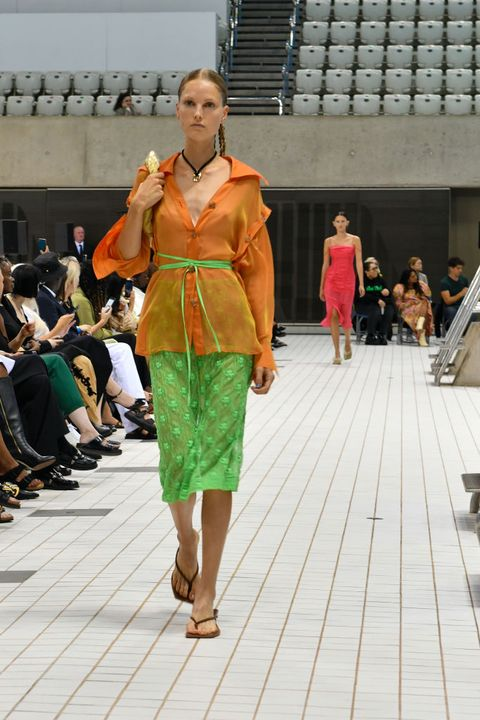 london, england   september 19 model on the catwalk during the rejina pyo ss22 show during london fashion week september 2021 at the london aquatics centre on september 19, 2021 in london, england photo by david m benettdave benettgetty images