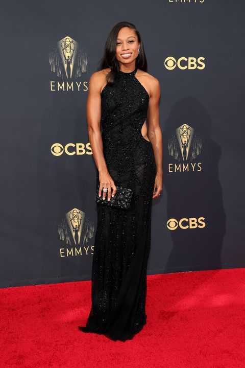 los angeles, california   september 19 allyson felix attends the 73rd primetime emmy awards at la live on september 19, 2021 in los angeles, california photo by rich furygetty images