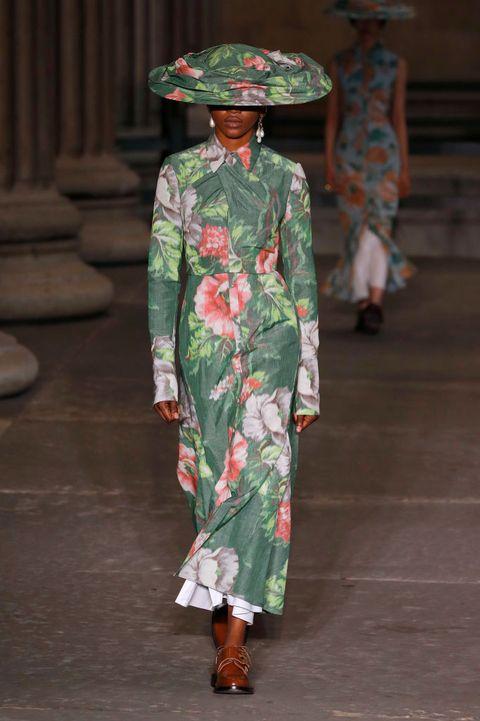 london, england   september 19a model walks the runway at the erdem show during london fashion week september 2021 at the british museum on september 19, 2021 in london, englandphoto by estropwireimage