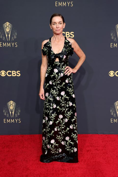 los angeles, california   september 19 julianne nicholson, winner of the outstanding supporting actress in a limited or anthology series or movie award for 'mare of easttown,' poses in the press room during the 73rd primetime emmy awards at la live on september 19, 2021 in los angeles, california photo by rich furygetty images