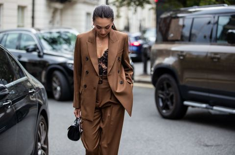 london, england   september 20 zara martin is seen wearing brown suitoutside paul  joe during london fashion week september 2021 on september 20, 2021 in london, england photo by christian vieriggetty images
