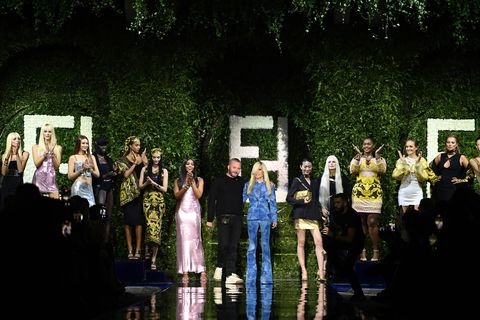 milan, italy   september 26 donatella versace walks the runway at the versace special event during the milan fashion week   spring  summer 2022 on september 26, 2021 in milan, italy photo by daniele venturellidaniele venturelli  getty images