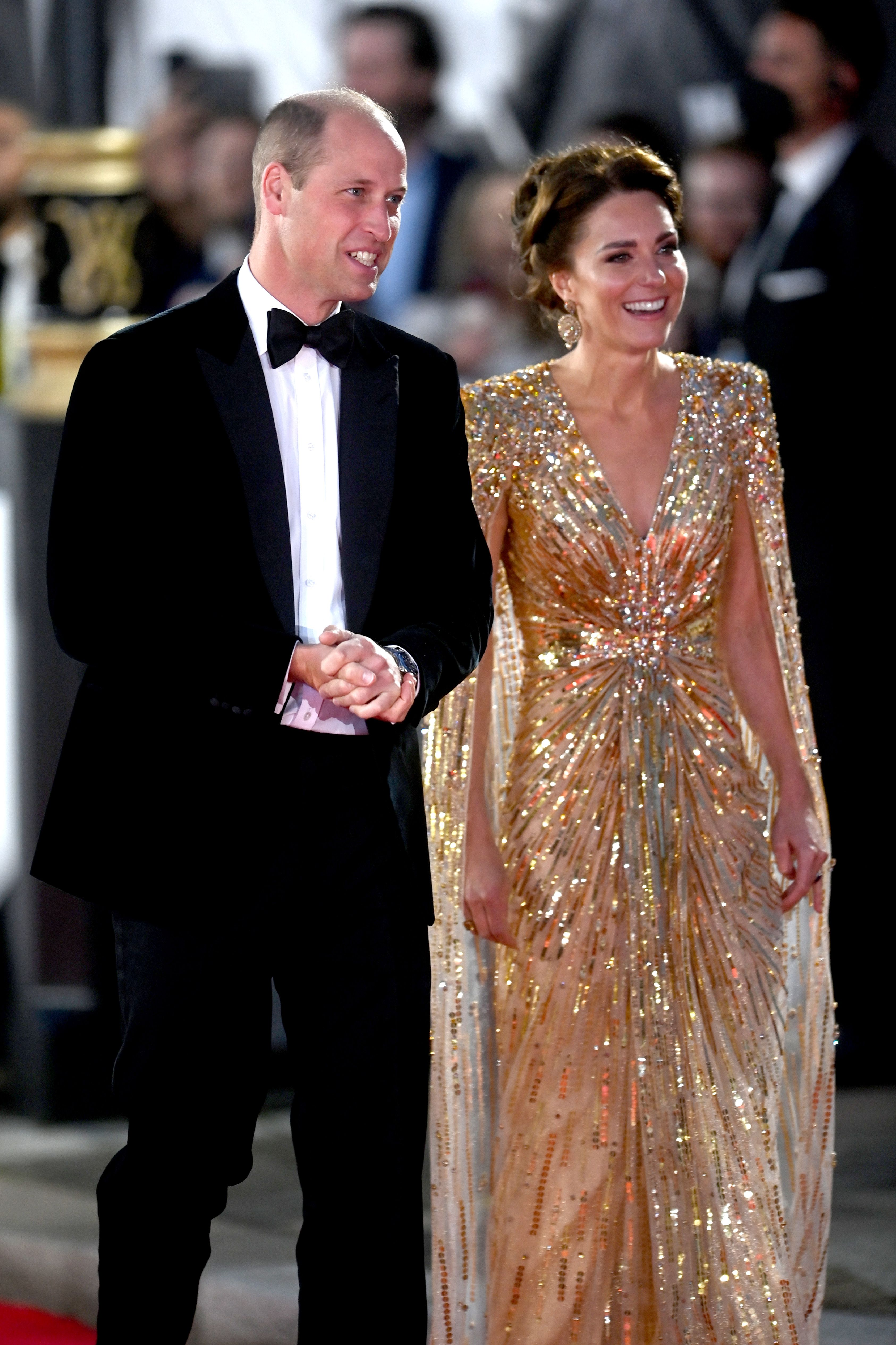 Kate Middleton Went Full Royal in a Gold-Sequined Cape Gown at the 'No Time to Die' Premiere