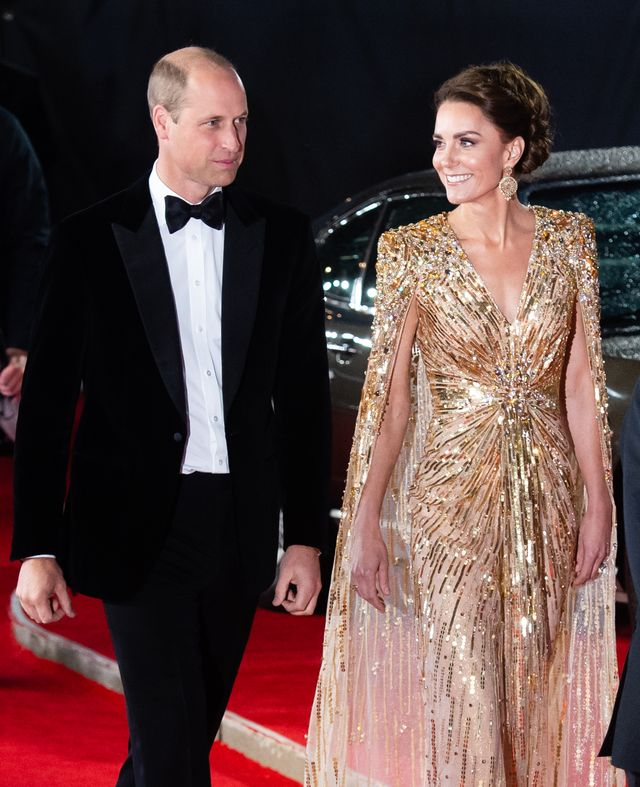 london, england   september 28 catherine, duchess of cambridge and prince william, duke of cambridge attend the no time to die world premiere at royal albert hall on september 28, 2021 in london, england photo by samir husseinwireimage