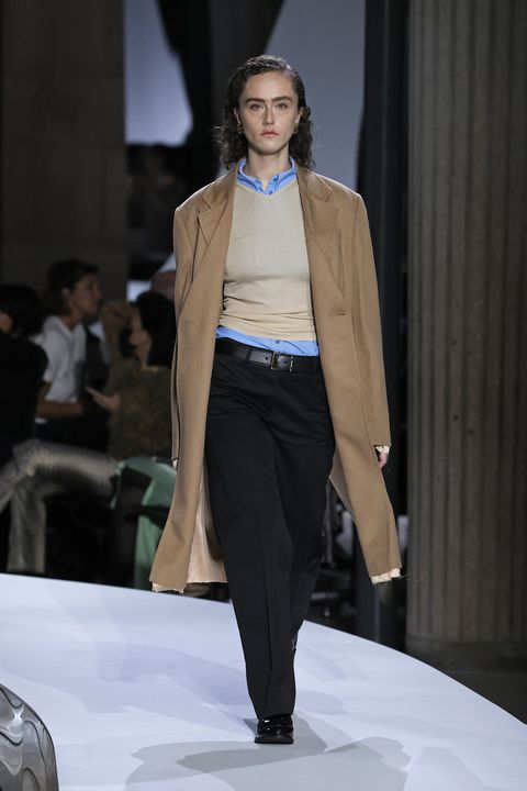 paris, france   october 05 editorial use only   for non editorial use please seek approval from fashion house a model walks the runway during the miu miu womenswear springsummer 2022 show as part of paris fashion week on october 05, 2021 in paris, france photo by estropgetty images