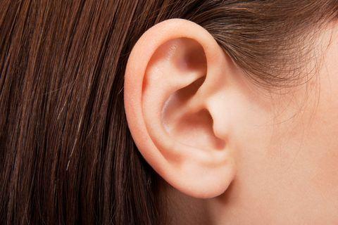 Ear, Face, Skin, Nose, Organ, Hearing, Close-up, Chin, Cheek, Earrings,