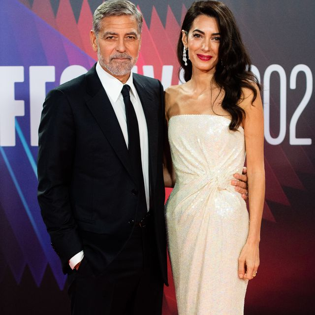 london, england   october 10 george clooney and amal clooney attend the tender bar premiere during the 65th bfi london film festival at the royal festival hall on october 10, 2021 in london, england photo by samir husseinwireimage