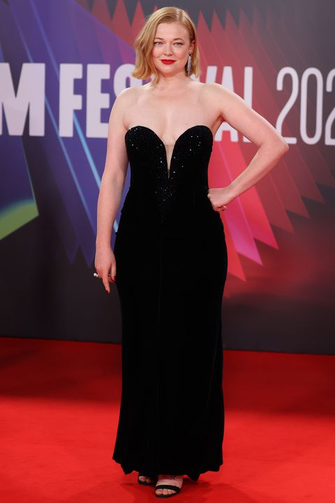 london, england   october 15 sarah snook attends the succession european premiere during the 65th bfi london film festival at the royal festival hall on october 15, 2021 in london, england photo by mike marslandwireimage