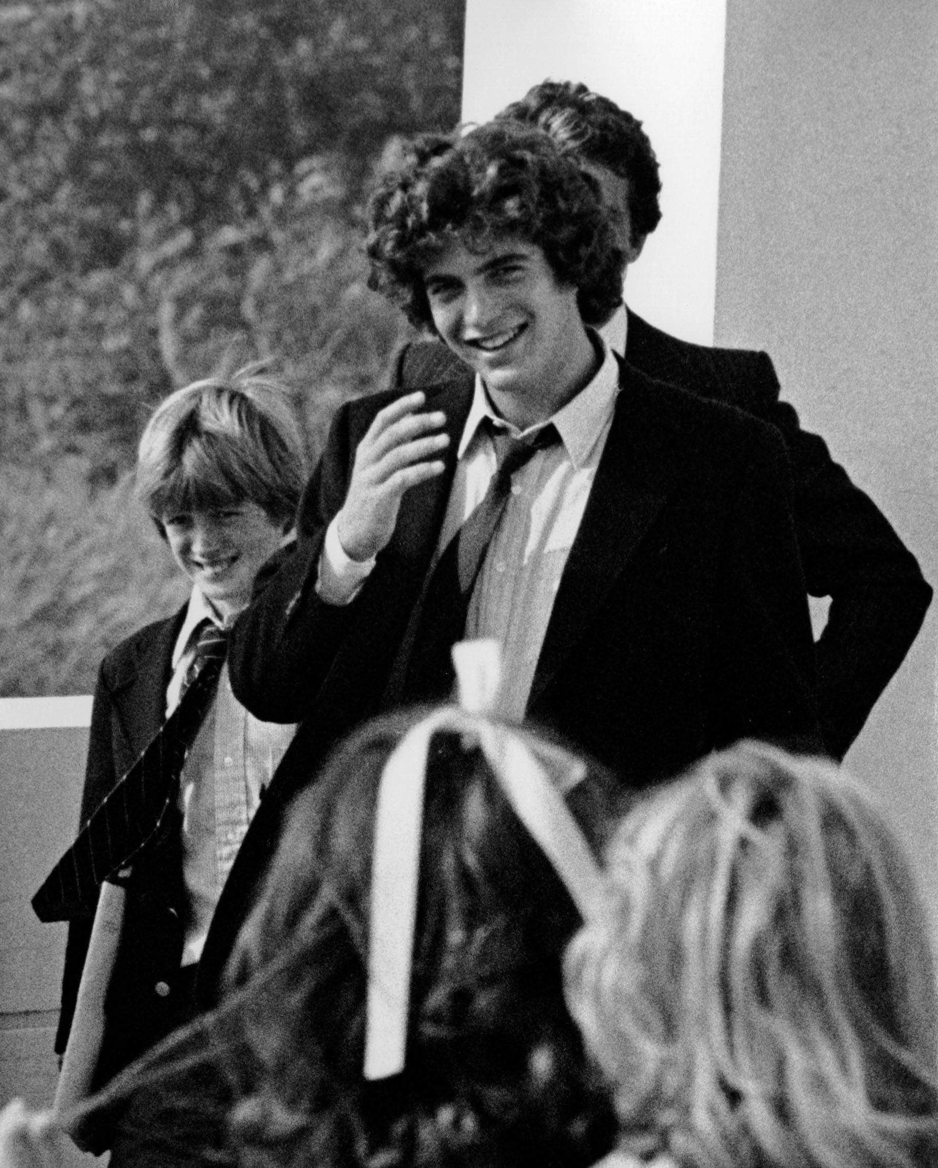 Patrick Kennedy and John F. Kennedy Jr. attend John F. Kennedy Library and Museum Dedication Ceremony on October 20, 1979 in Dorchester, Massachusetts.
