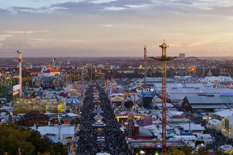 Germany, Bavaria, Munich, View of Oktoberfest fair at dusk