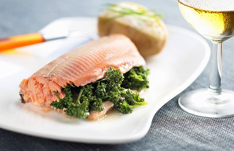 salmon with wine