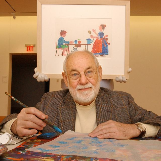 amherst, ma   november 13 artist eric carle, an illustrator and author of childrens books, with some of the materials he uses to create the art for his books carle poses in a gallery of the eric carle museum carle was instrumental in the planning and building of the museum photo by matthew j leethe boston globe via getty images