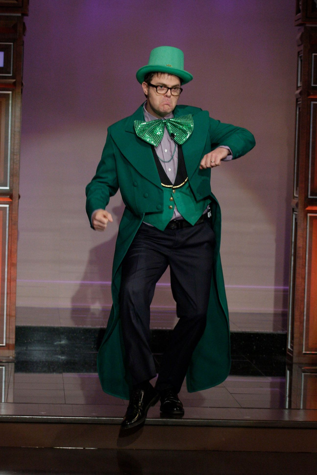 Rainn Wilson dressed as a leprechaun on the Tonight Show with Jay Leno in 2011.