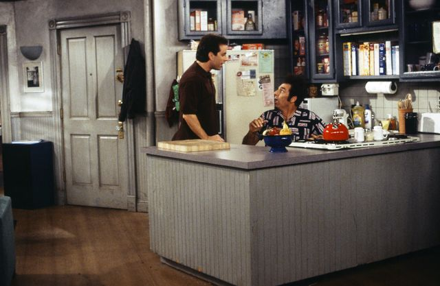 seinfeld    the finale part 12 episode 23  24    pictured l r jerry seinfeld as himself, michael richards as cosmo kramer  photo by joseph del vallenbcu photo banknbcuniversal via getty images via getty images