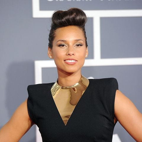 updo ideas for short hair, alicia keys