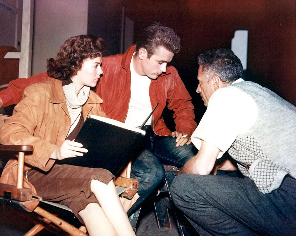 Natalie Wood, James Dean, and director Nicholas Ray on the set of Rebel Without a Cause , 1955