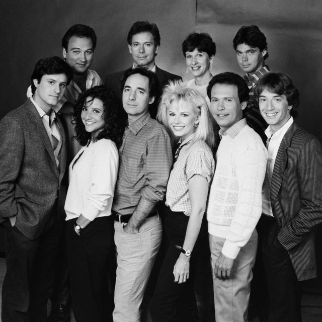 saturday night live    season 10    pictured back, l r jim belushi, christopher guest, mary gross, brad hall, front, l r gary kroeger, julia louis dreyfus, harry shearer, pamela stephenson, billy crystal, martin short    photo by nbcu photo banknbcuniversal via getty images via getty images