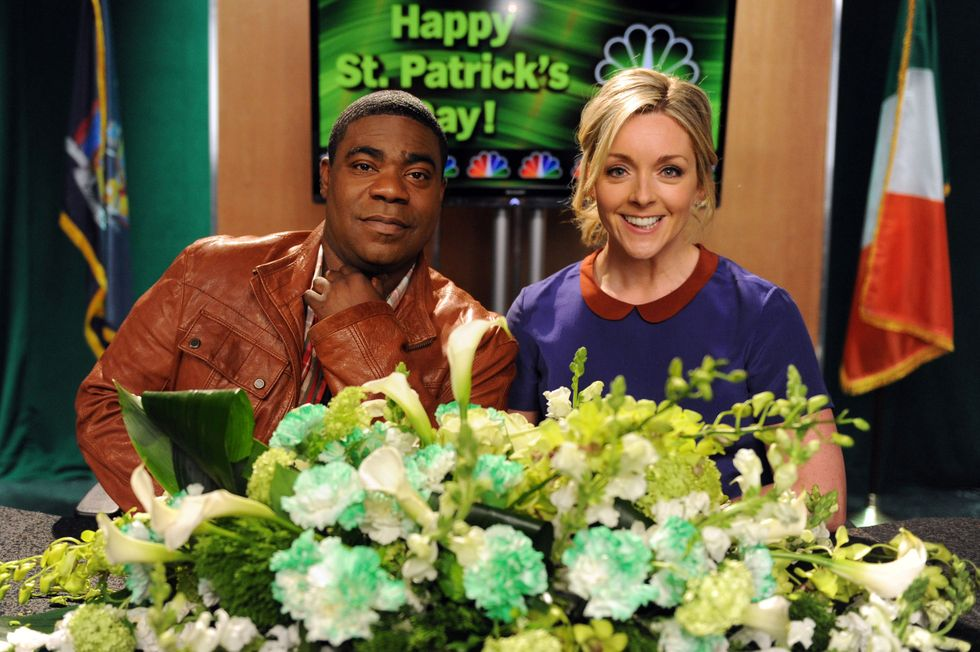 Tracy Morgan as Tracy Jordan and Jane Krakowski as Jenna Maroney on the set of a St. Patrick's Day episode of 30 Rock in 2012.