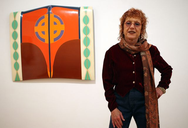 berlin, germany   march 14  artist judy chicago poses in front of her painting car hood prior to the opening of the pacific standard time   kunst in los angeles 1950 1980 pacific standard time   art in los angeles 1950 1980 exhibition at the martin gropius bau on march 14, 2012 in berlin, germany the exhibition focusses on postwar art in los angeles, featuring over 70 works from more than 40 artists including john baldessari, sam francis, david hockney, edward kienholz and ed ruscha, and runs from march 15, 2012 june 10, 2012  photo by adam berrygetty images