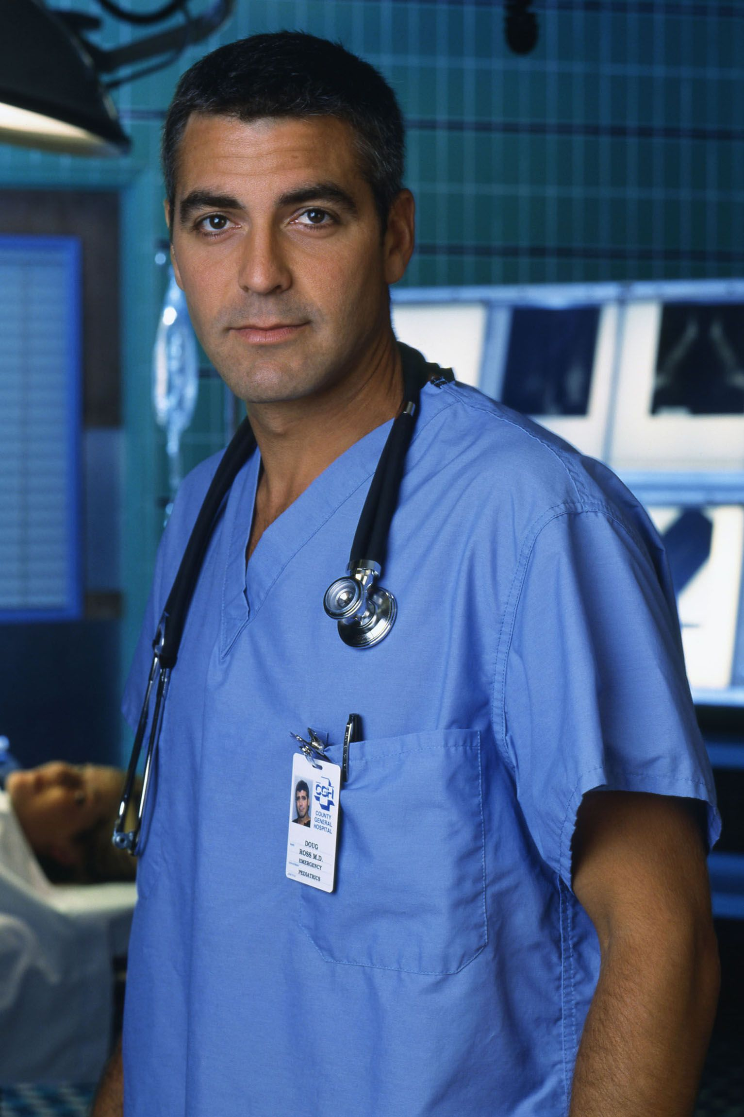 Clooney as Dr. Doug Ross on ER in 1990.